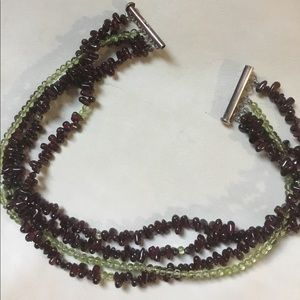 Jewelry - Choker with garnet and green stones